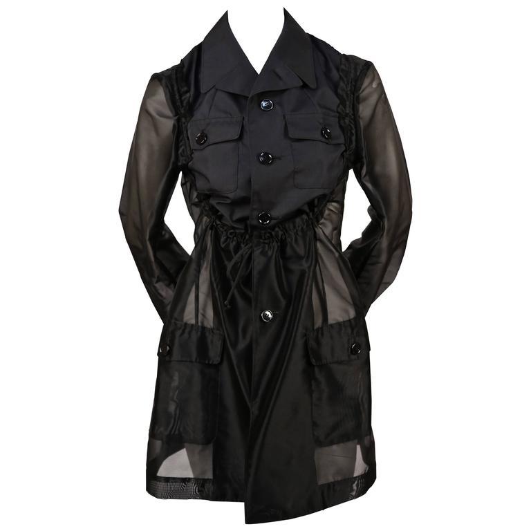 2002 COMME DES GARCONS black sheer runway jacket with ruched bib