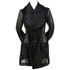 2002 COMME DES GARCONS black sheer runway jacket with ruched bib