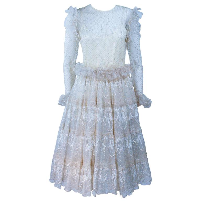 TED LAPIDUS Lame Gold Lace Cocktail Dress Set with Belt Size 6-8