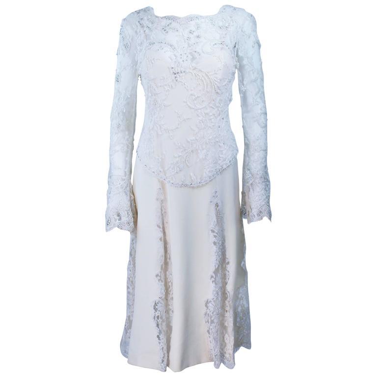 FE ZANDI White Lace Silk Embellished Dress Size 6 For Sale