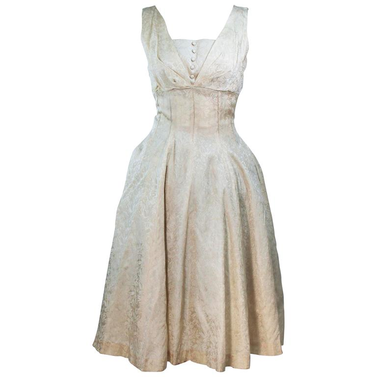 1960's Cream Brocade Cocktail Dress Size 4-6