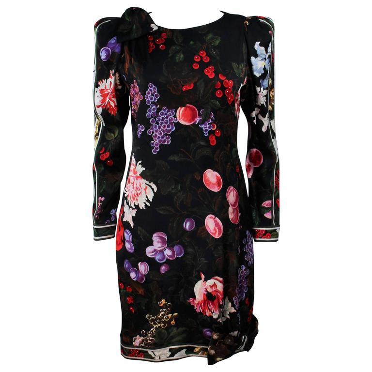 LEONARD Black Silk Cocktail Dress with Fruit Pattern & Bows Size 4-6