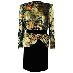 VALENTINO Draped Silk Chiffon with Velvet Skirt Set Size 8