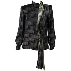VALENTINO Black and Gold Silk Metallic Blouse with Neck Tie Size 40