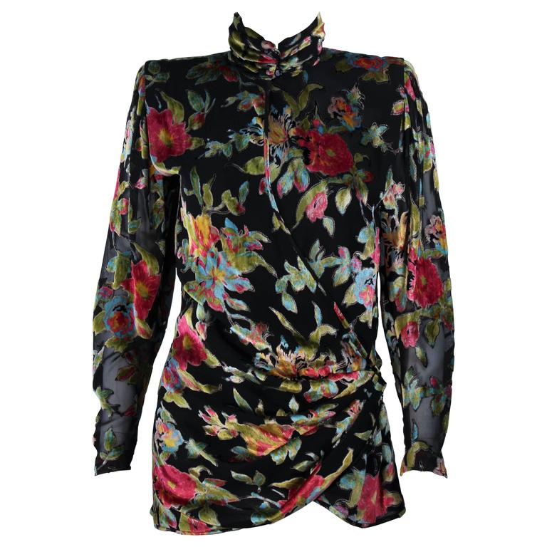UNGARO Silk and Velvet Floral Motif Wrap Style Draped Blouse Size 8 1