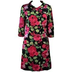 1960's Black Silk Floral Print Coat Size 6