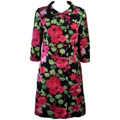 1960's Black Silk Floral Print Coat Size 6
