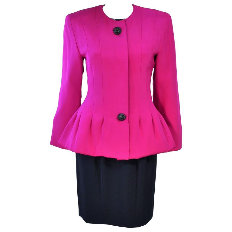 JACQUELINE DE RIBES Silk Magenta Skirt Suit with Sequin Blouse Size 6
