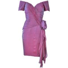 VICKY TIEL Lavender Silk Iridescent Cocktail Dress Size 38