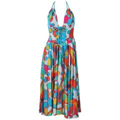 THIERRY MUGLER Printed Halter Dress Size 32
