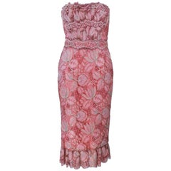 ELIZABETH MASON COUTURE Pink Metallic Lace Cocktail Dress Size 2 Made to Order