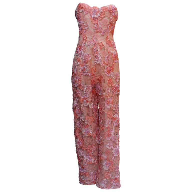 Late 1980s Gres Coral-coloured Lace Jumpsuit