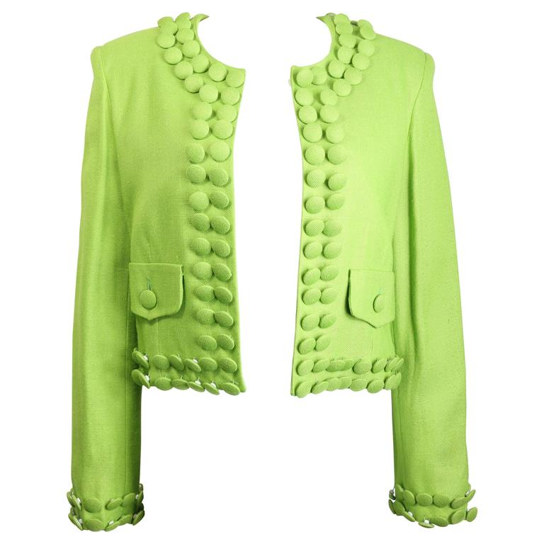 Moschino Cheap and Chic Green Buttons Cropped Jacket