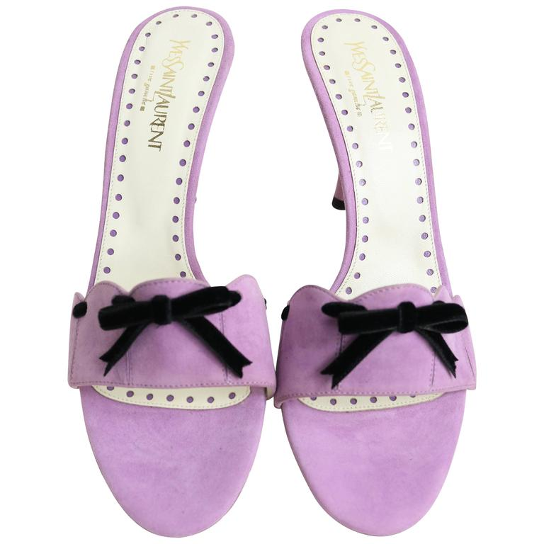 Yves Saint Laurent Lavender Suede Bow-Embellished Sandals