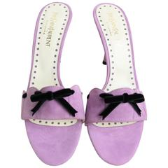 Yves Saint Laurent Lavender Suede Bow-Embellished Sandals