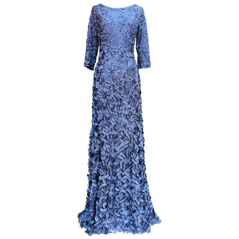 2010s Helene Gainville Paris Dark Blue Silk Petals Evening Gown For Sale