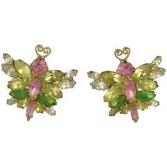 1990s Marie Ferra Pastel Butterfly  Earrings New Old stock