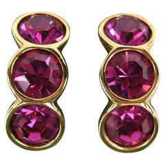 1980's Stunning SWAROVSKI Crystal Bezel Set earrings Never Worn