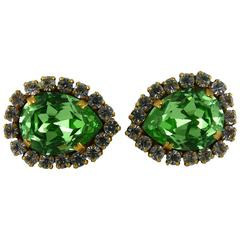 Chanel Vintage Faux Diamond Emerald Clip-On Earrings Spring/Summer 2015