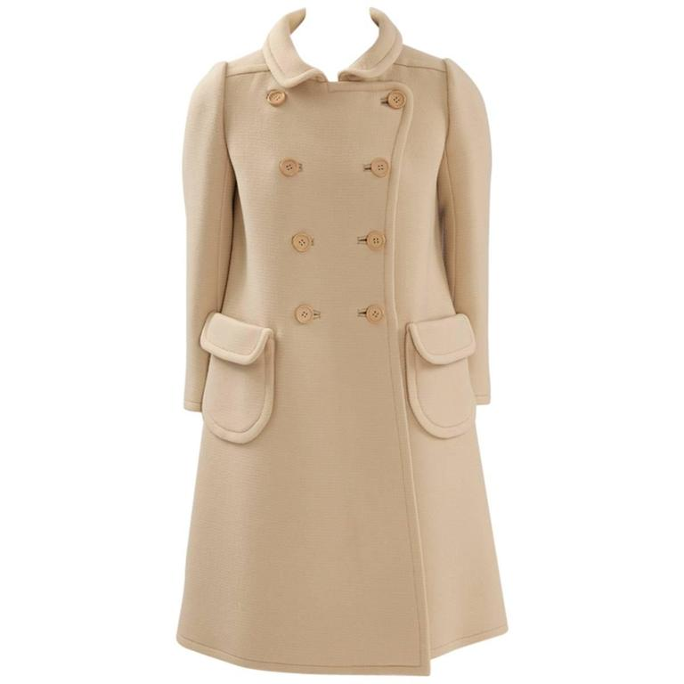 Courreges Haute Couture Wool Coat, Circa 1965  For Sale
