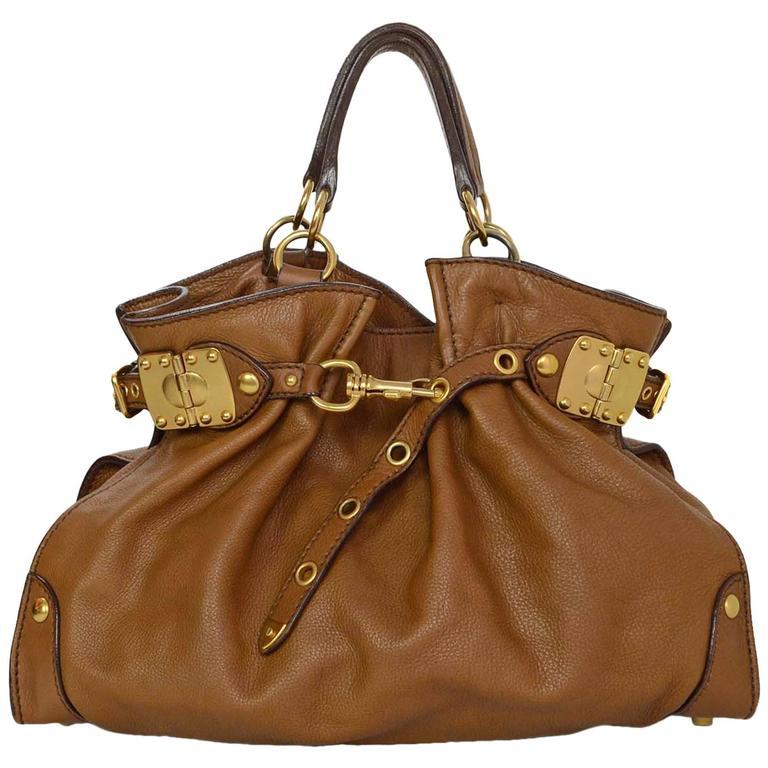 Miu Miu Tan Leather Belt Buckle Tote Bag GHW For Sale