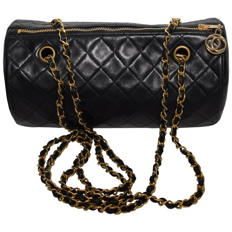 Authentic Vintage Chanel Quilted Chain Cylinder Papillon Shoulder ... : vintage chanel quilted shoulder bag - Adamdwight.com