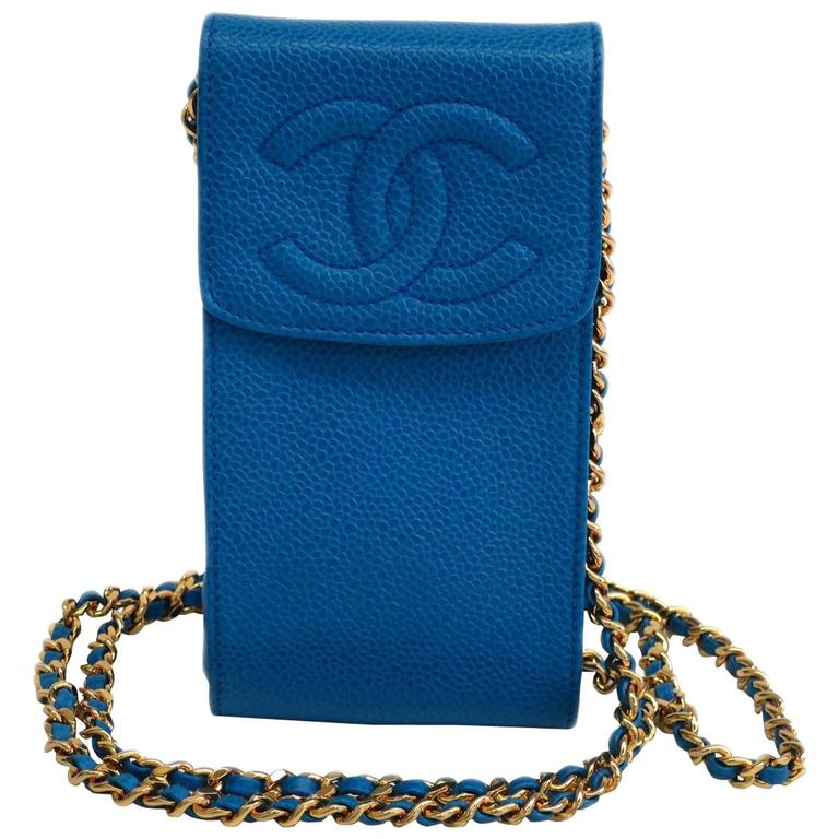 80577a88129c Chanel Blue Caviar Leather Gold Hardware Mini Cell Phone Crossbody Shoulder  Bag For Sale