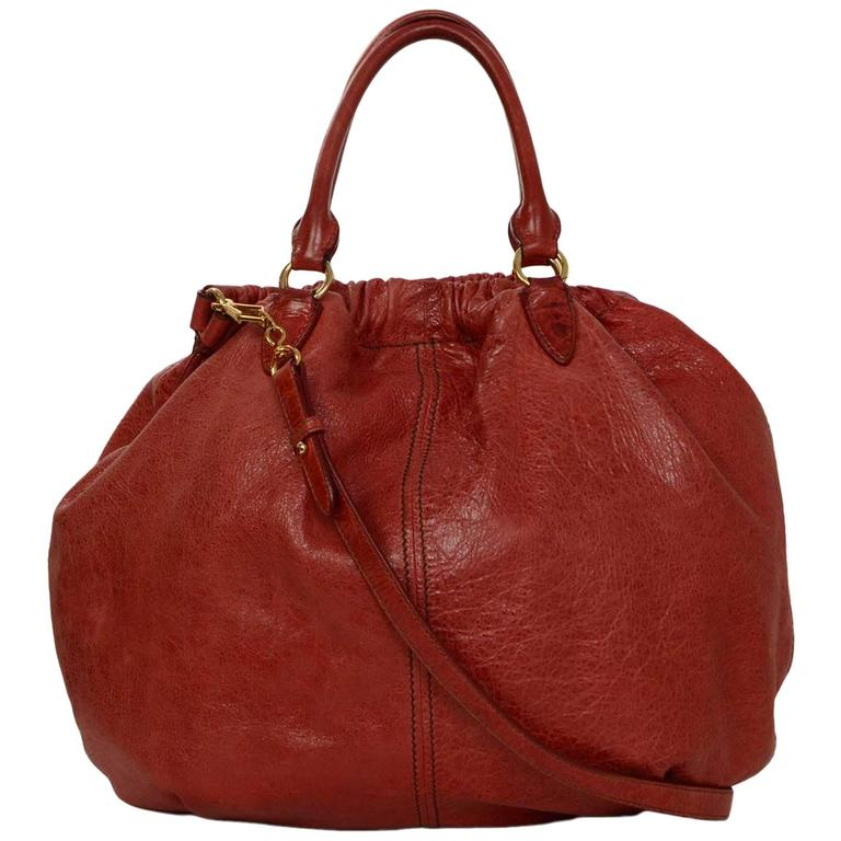 Miu Miu Red Distressed Leather Hobo Bag GHW For Sale at 1stdibs a52f884f59a18