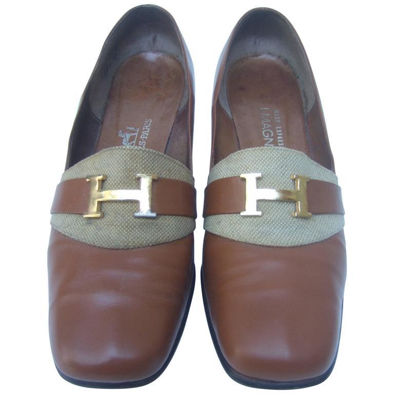 Hermes Paris Gilt H Buckle Brown Leather Pumps c 1970