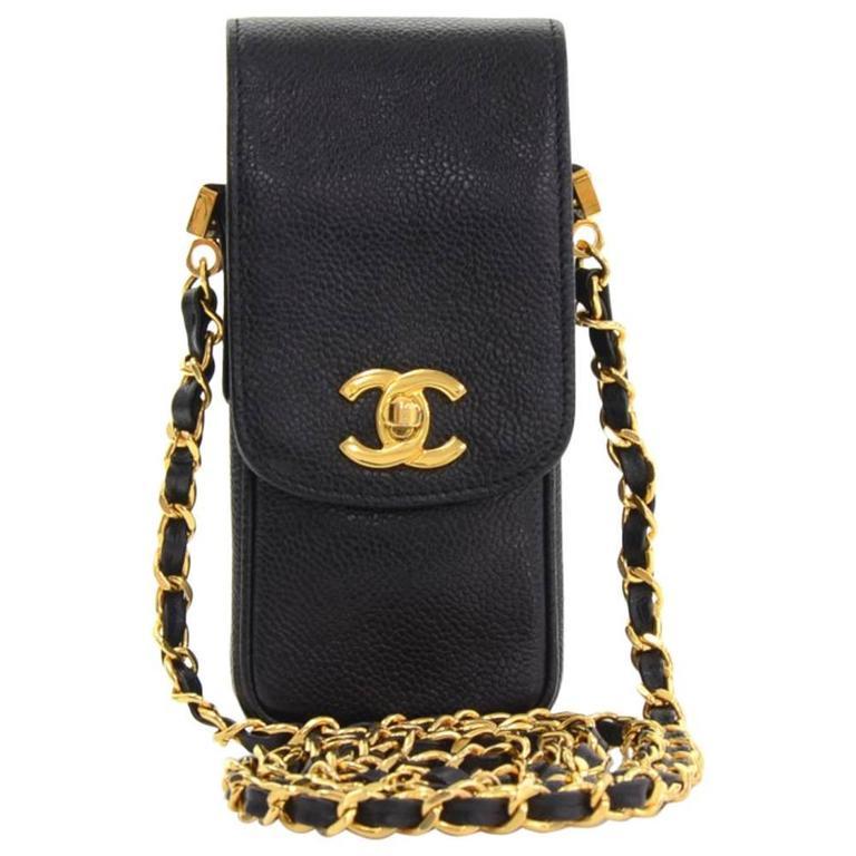 reputable site 6f96e bea98 Chanel Rare Black Caviar Leather CC Logo Cell Phone Mini Crossbody Shoulder  Bag