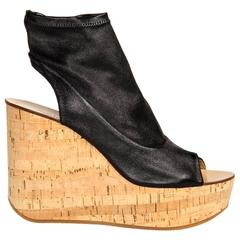 Chloe' Black Leather & Cork Glove Wedges