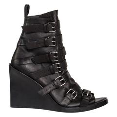 Ann Demeulemeester Black Open Front Ankle Boots