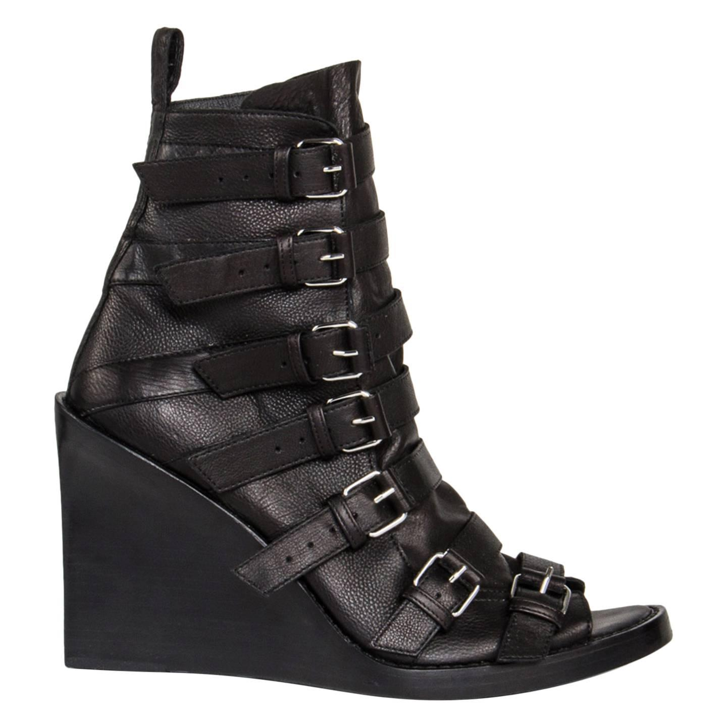 Ann Demeulemeester Black Open Front Ankle Boots For Sale