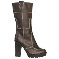 Yves Saint Laurent Brown Leather & Contrast Stitching Boots