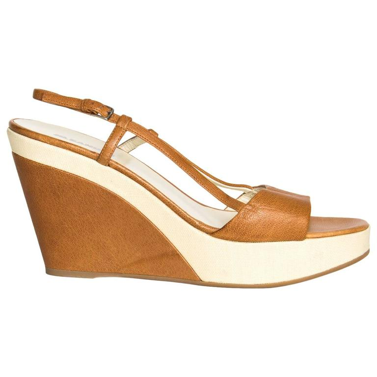Jil Sander Tan & Beige Leather Sandal