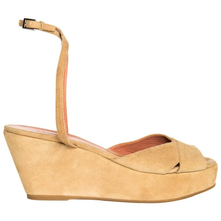 Alaïa Tan Suede Wedge Sandals