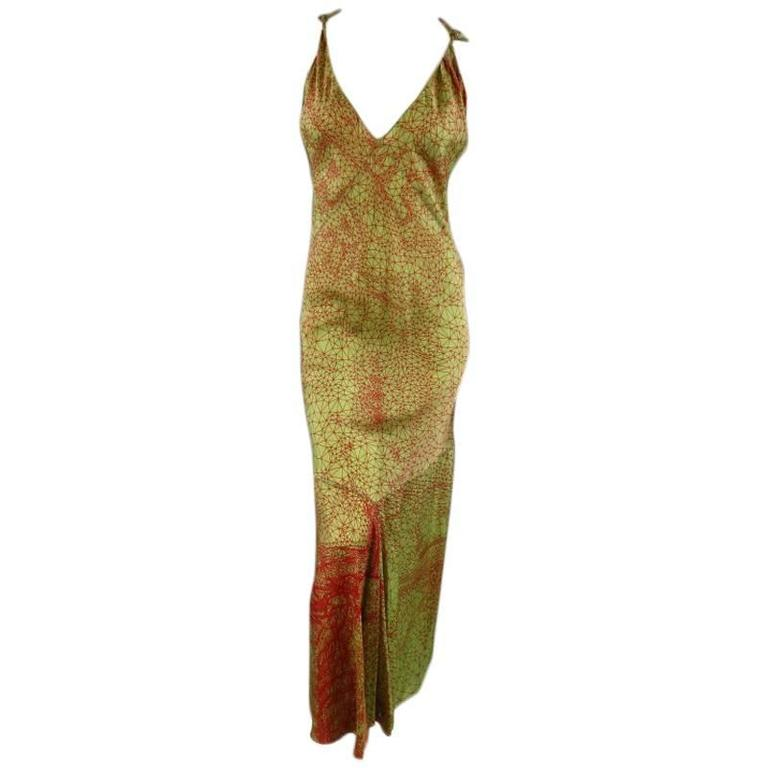 JEAN PAUL GAULTIER Size 6 Green & Red Geometric Print Rayon Maxi Dress