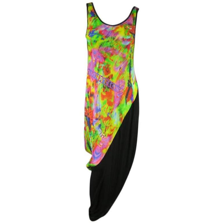 YOHJI YAMAMOTO Psychedelic Glitch Damnation Print Draped Maxi Dress - Medium For Sale