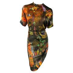 HUSSEIN CHALAYAN Size 6 Black Art Graphic Print Silk Elastic Belt Tee Dress