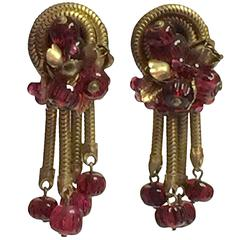 1960's Robert Rousselet Cranberry Gripoix Glass and Goldtone Drop Earrings