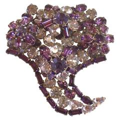 1950's SCHREINER Lilac and Purple Cornucopia Brooch
