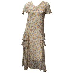Late 1920s Silk Chiffon Floral Dress