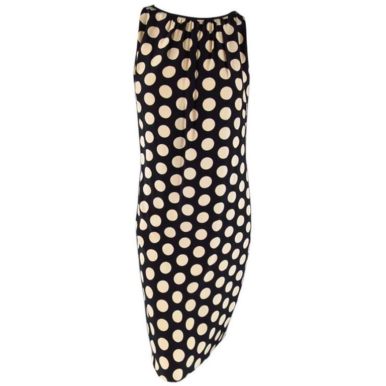 AKRIS Size 8 Black & Beige Polka Dot Silk Pleated Sleeveless Shift Dress 1