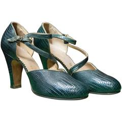 1930s Green Imitation Lizard Shoes