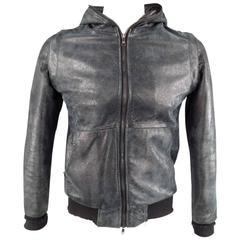 GIORGIO BRATO 38 Black Brushed Leather Bomber Jacket