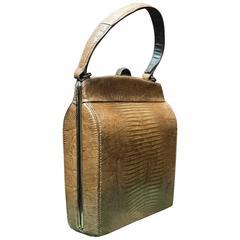 1940s Brown Lizard Handbag