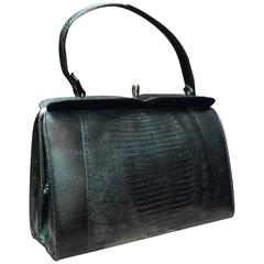 1950s Black Lizard Handbag