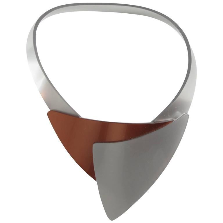 French Designer Space Age Lucite Plexiglass Sculptural Necklace 1