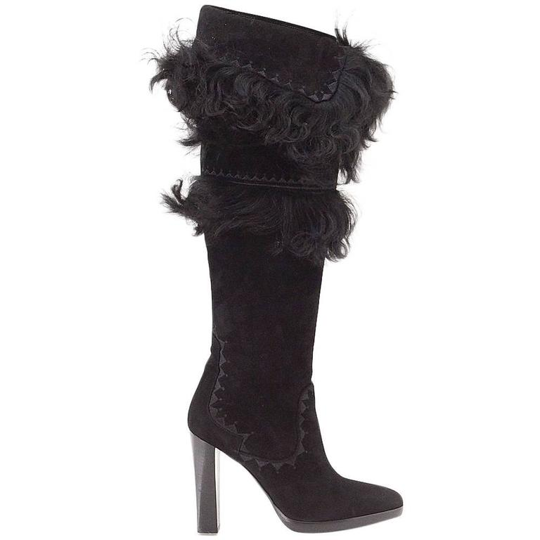 HERMES boot suede Chevre leather fur knee high or over the knee 37 / 7  new For Sale