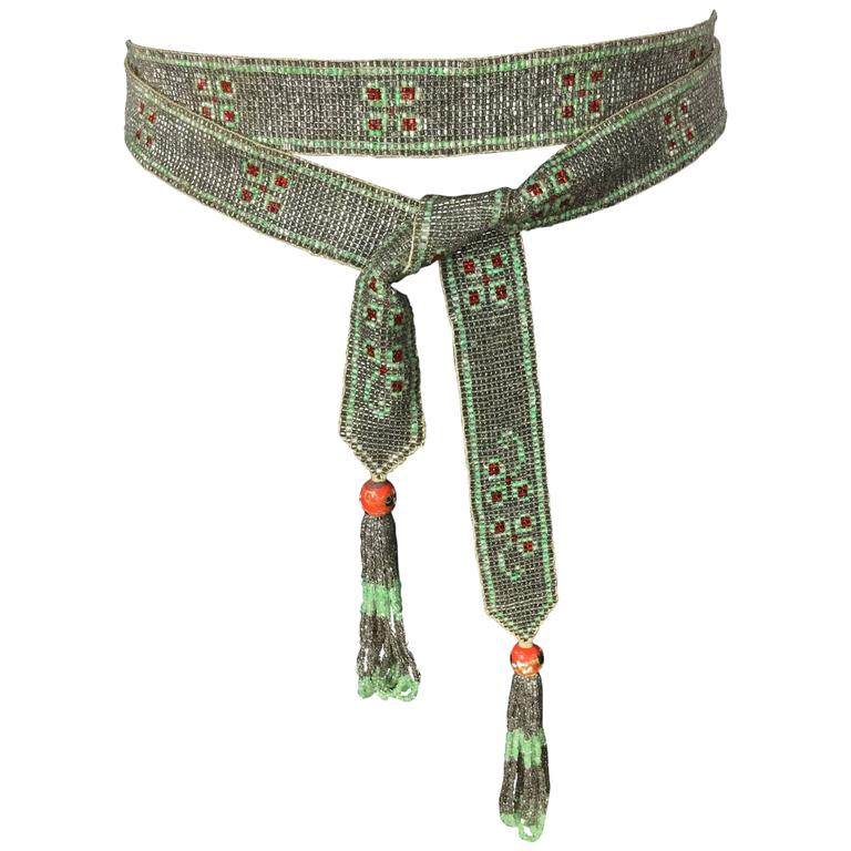 1920's Seed Bead Flapper Belt/Sautoir Necklace. Art Deco. 1